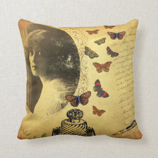 Vintage Collage Woman Writer and Butterflies Pillows