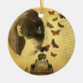 Vintage Collage Woman Writer and Butterflies Christmas Ornaments