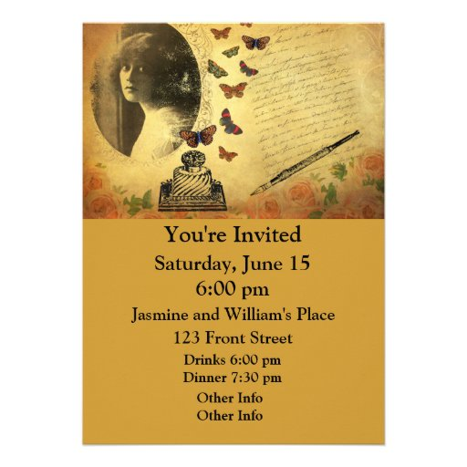 Vintage Collage Woman Writer and Butterflies Personalized Announcements