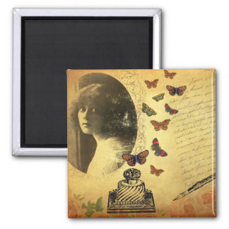 Vintage Collage Woman Writer and Butterflies Fridge Magnet