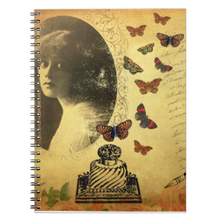 Vintage Collage Woman Writer and Butterflies Spiral Note Book