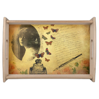 Vintage Collage Woman Writer and Butterflies Serving Tray