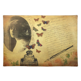 Vintage Collage Woman Writer and Butterflies Placemats