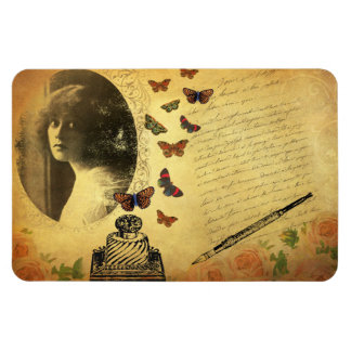 Vintage Collage Woman Writer and Butterflies Rectangle Magnets