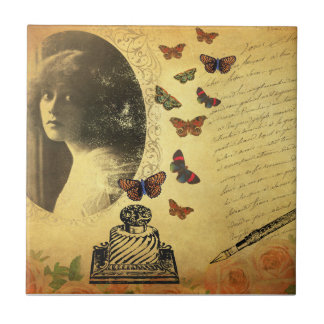 Vintage Collage Woman Writer and Butterflies Small Square Tile