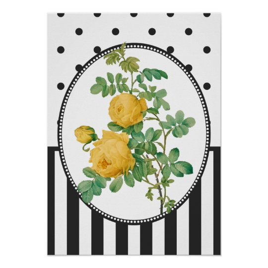 Vintage Collage Yellow Roses Botanical Print