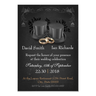 Vintage Collapsibles top Hats on chalkboard 9 Cm X 13 Cm Invitation Card