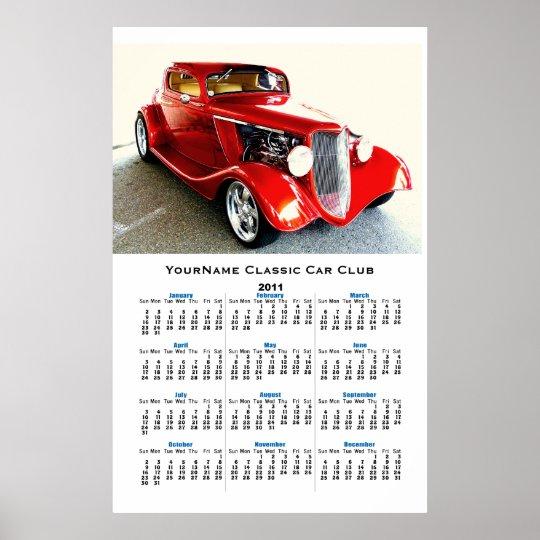 Vintage Collector Car Club Wall Calendar Poster