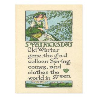 Vintage Colleen Spring Shamrock St Patrick's Day Postcard