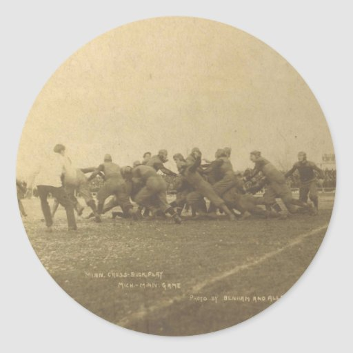Vintage College Football Game from 1902 Round Stickers