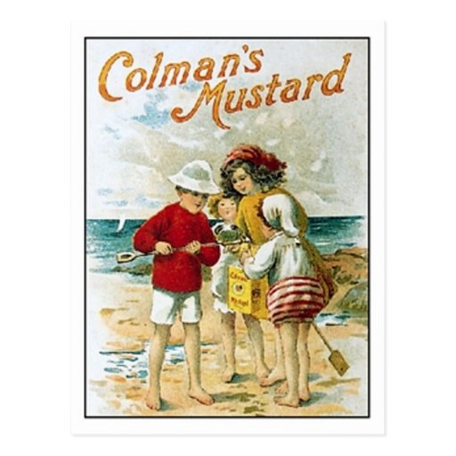 Vintage Colman's Mustard Kids On the Beach Ad Post Card