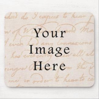 Vintage Colonial Cream Beige Text Parchment Paper Mouse Pad