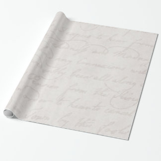 Vintage Colonial Light Grey White Text Parchment Wrapping Paper