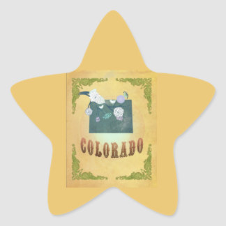 Vintage Colorado State Map- Passion Fruit Yellow Sticker