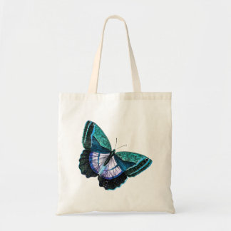 Vintage Colorful Blue Purple Butterfly Template Budget Tote Bag