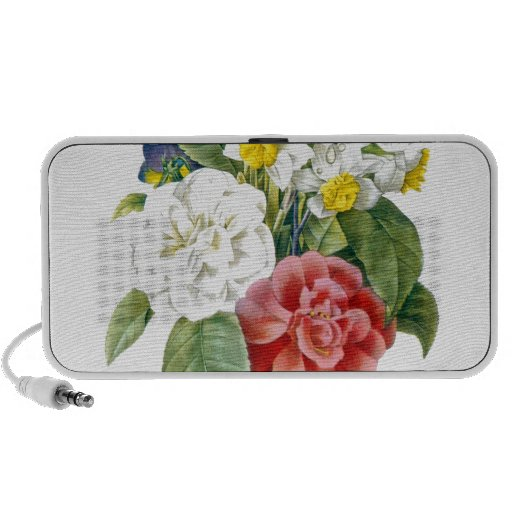 vintage colorful botanical flowers by Redoute. Laptop Speaker
