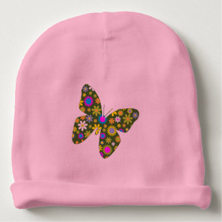 Vintage colorful butterfly baby beanie