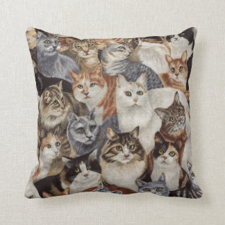 Vintage Colorful Cat Pattern Throw Pillow Throw Cushion