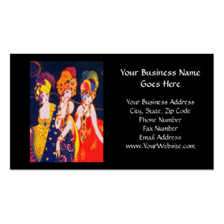 Vintage Colorful Deco Women with Jewelry Business Card Template