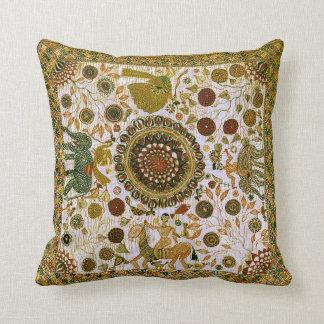 Vintage Colorful Fine Bengali Elephant Pattern Cushion