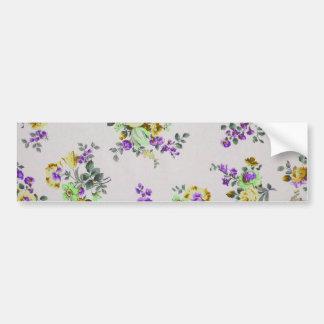 Vintage Colorful Floral Bumper Sticker