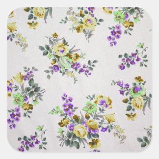 Vintage Colorful Floral Square Sticker