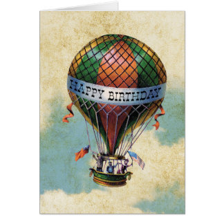 Vintage Colorful Hot Air Balloon Happy Birthday Card