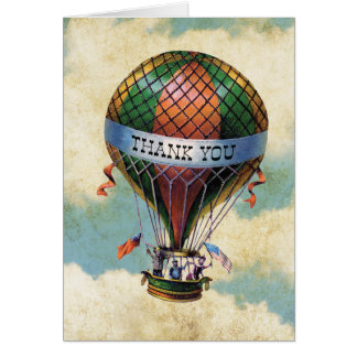 Vintage Colorful Hot Air Balloon Thank you Note Card