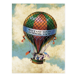 Vintage Colorful Hot Air Balloon Thank You Postcard