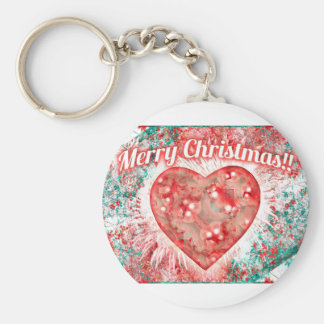 Vintage Colorful Merry Christmas Design Key Chain