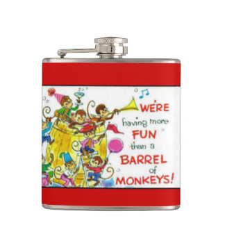 Vintage Colorful More Fun Barrel of Monkeys Hip Flask