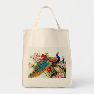 Vintage Colorful Peacocks Grocery Tote Bag