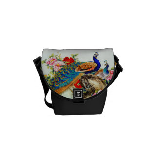 Vintage Colorful Peacocks Messenger Bags