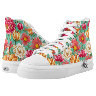Vintage Colorful spring flower seamless pattern High Tops