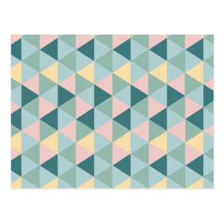 Vintage colorful triangle pattern postcard