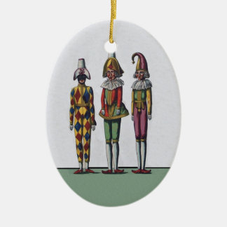 Vintage Colorful Whimsical Three Jester Dolls Christmas Ornament