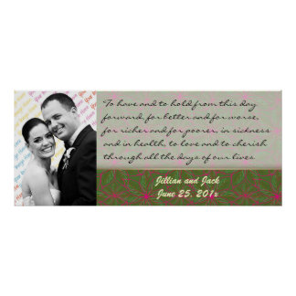 Vintage Colors Poinsettia WEDDING Vows Display Print