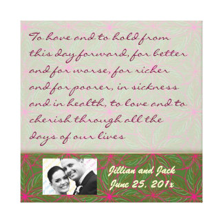 Vintage Colors Poinsettia WEDDING Vows Display Stretched Canvas Print
