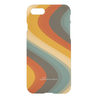 Vintage Colors Wave Striped Clear iPhone 7 case