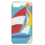 Vintage Colourful Abstract Sailboats in Water