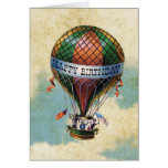 Vintage Colourful Hot Air Balloon Happy Birthday