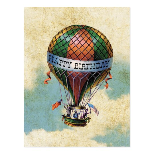 Vintage Colourful Hot Air Balloon Happy Birthday Postcard