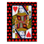Vintage Colourful Ornate Queen of Hearts Postcard