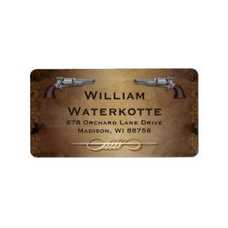Vintage Colt Revolver Gun Shop Address Label