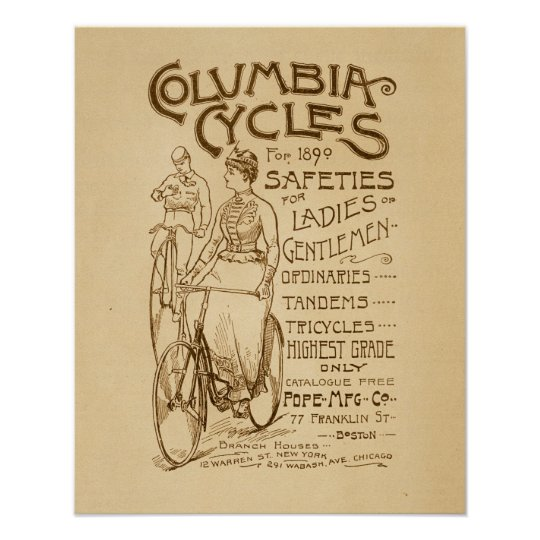 Vintage Columbia Safety Bicycles Ad Art Poster