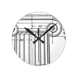 vintage column round clock