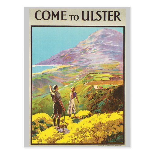 Vintage Come to Ulster British Isles Travel Poster Postcards
