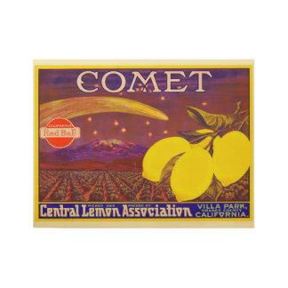 Vintage Comet Brand Lemon Crate Label Wood Poster