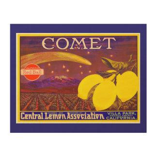 Vintage Comet Brand Lemon Fruit Label Wood Canvas