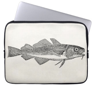 Vintage Common Cod Fish - Aquatic Fishes Template Laptop Sleeve